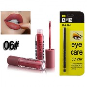 Miss Rose Liquid Matte Long Lasting Waterproof Lip gloss And ADS Extra Long Lasting Black Kajal - Combo 6