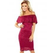 Vinröd Off-Shoulder Spetsklänning