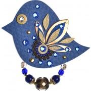 Petra Švarcová Královsky modrá brož s krystaly Pták