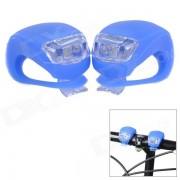 FJQXZ Ciclismo al aire libre 3-Mode 2-LED blanco frio lamparas de bicicleta - azul zafiro (4 x CR2032)