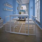 vidaXL Трапезен комплект от 5 части, маса и 4 стола, бял
