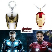 2 Pc AVENGER SET - THOR HELMET / CROWN GOLD COLOUR IMPORTED METAL KEYCHAIN & IRONMAN HELMET (RED/GOLD) IMPORTED METAL PENDANT WITH CHAIN ❤ LATEST ARRIVALS - RINGS, KEYCHAINS, BRACELET & T SHIRT - CAPTAIN AMERICA - AVENGERS - MARVEL - SHIELD - IRONMAN - HU