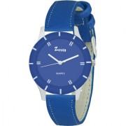 Zesta 17 Analog Watch Round Dial Leather Strap Quartz Watch for Women (Blue)