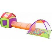 Set Cort de Joaca pentru Copii tip Casuta cu Tunel si 200 de Bile Plastic