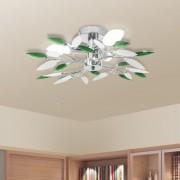 vidaXL Stropní svítidlo, bílé a zelené křišťálové listy, na 3 žárovky E14