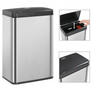 vidaXL Coș de gunoi senzor automat argintiu&negru 60 L oțel inoxidabil