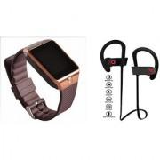 Zemini DZ09 Smart Watch and QC 10 Bluetooth Headphone for SAMSUNG GALAXY S DUOS 3(DZ09 Smart Watch With 4G Sim Card Memory Card| QC 10 Bluetooth Headphone)