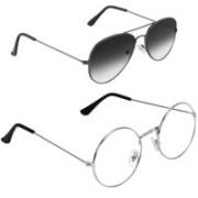 Royalmede Aviator Sunglasses(Black, Clear)