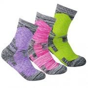 YuEdge Calcetines de Senderismo para Mujer, Verde, Rojo, púrpura (Purple/Red/Green), L(Women Shoe 7-10.5 US Size)