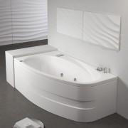 Vasca da bagno idromassaggio asimmetrica Life Pool versione sinistra 160x90 cm con pannello bianco