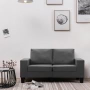 vidaXL 2-местен диван, тъмносив, текстил