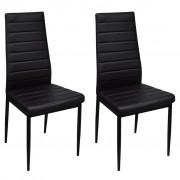 vidaXL Dining Chairs 2 pcs with Slim Line Black