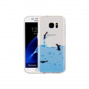 Para Samsung Galaxy S7 Edge / G935 Adorables Pingüinos Patron Imd Acabado Suave Tpu Protector Caso