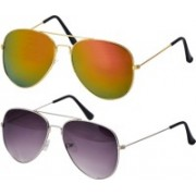 Freny Exim Aviator Sunglasses(Golden, Violet)