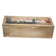 Cutie pentru ceai, cu 3 compartimente, model din lemn