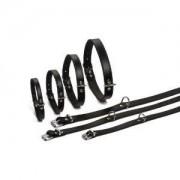 Beeztees Lederen honden halsband zwart - 32 cm x 10 mm