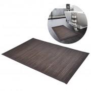 vidaXL Бамбукова постелка за баня 60 x 90 см, тъмно кафява