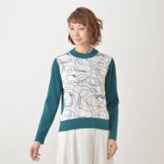 BonMatelier 前身プリントプルオーバー【QVC】40代・50代レディースファッション