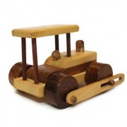 BuzyKart Beautiful Wooden Classical Side Wheel Road Roller Toy Cum Showpiece