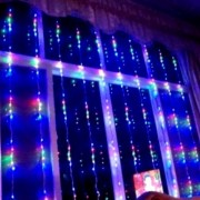 Perdea Luminoasa Ploaie Craciun 560LED Multicolor 4x2.5m Fir Incolor VR