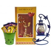 Saugat Traders Diwali Gift Set - Diwali Wishes Greeting Card, Gel Lantern Candle & Small Bucket Full of Chocolates