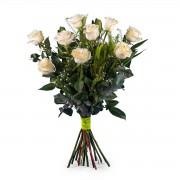 9 Rosas Blancas de Tallo Largo - Flores a Domicilio