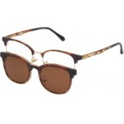 Vast Clubmaster Sunglasses(Clear, Brown)