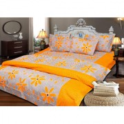 AS Many Flowers Design cotton Double Bed sheets with 2 pillow covers- Orange