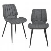 [en.casa]® Silla de comedor Pohorje - 77 x 57,5 x 46 cm - Set de 2 sillas de diseño - Acolchado - De Cuero sintético - Gris oscuro