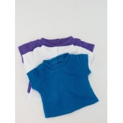 "Set Of 3 Tee Shirts, Purple, White, And Blue Fits 18"" American Girl Dolls, Gotz, Our Generation Madame Alexander And Others."