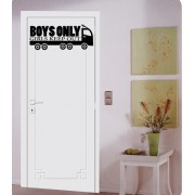 Boys only girls keep out bedroom door sticker kit.