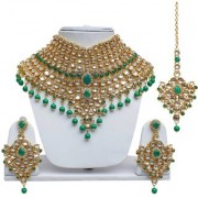 Lucky Jewellery Bridal Green Color Kundan Stone Gold Plating Necklace Set For Girls & Women