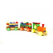 BJE Wooden Block Train Puzzle Set with Colorful Stacking Blocks