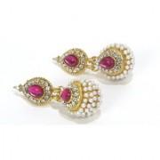Dark Pink Pearl Jhumka Earring