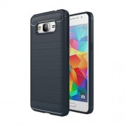 Samsung Galaxy Grand Prime Case, Samsung Galaxy G530, Brushed Texture Carbon Fiber TPU Protective Case(Dark Blue)