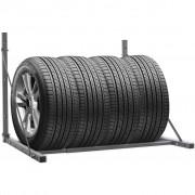vidaXL Skládací stojan na pneumatiky, stříbrná galvanizovaná ocel