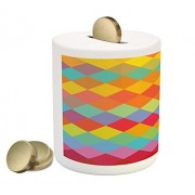 Abstract Piggy Bank by Lunarable, Diamond Shaped Vibrant Geometric Forms Retro Diagonal Boxes Space Mosaic Design, Printed Ceramic Coin Bank Money Box for Cash Saving, Multicolor