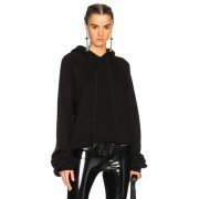 Unravel Cotton Cashmere Cropped Hoodie in Black. - size XS (also in L,M,S)