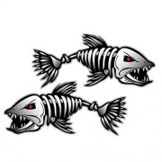 Electroprime® 4X Skeleton Fish Vinyl Decals for Boat Fishing Car Window Graphics Bone Stickers