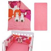 Спален комплект от 3 части за бебешка кошара Joy line, toTs, зайчета розов, 011211