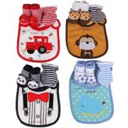 VERY CUTE CHILD CARE SET Baby Bibs Booties Mittens Combo Set - (Pack Of 1 Combo Set) Multi Color/Print May Vary