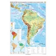 America de Sud. Harta fizico-geografică şi a principalelor resurse naturale de subsol 100X140 CM