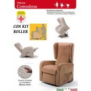 Il Benessere Poltrona Relax Comodona Sfoderabile 2 Motori con Alzapersona Kit Roller Seduta in Memory Tessuto Idrorepellente Dispositivo Medico Prodotto Italiano