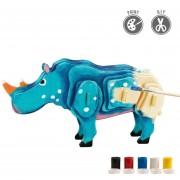 3D Puzzle De Pintura Forma De Rinoceronte