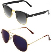 Zyaden Combo of Clubmaster And Aviator Sunglasses (Combo-108)