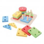 Joc de sortare BigJigs 4 forme geometrice, 17 piese din lemn