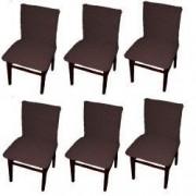 Set 6 huse elastice bicolore/gofrate cu bumbac fara volan pentru scaun TRADE STORE DELIVERY Bumbac si Poliester Maro