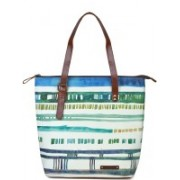 Kantha Kantha Handcrafted Leather and Canvas Water Color Strokes Printed Women Tote Handbag with Adjustable Handle Multicolor Tote