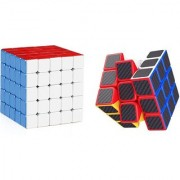 Emob Pack of 2 Stickerless 5x5 Cube and Carbon Fiber Stickers 3x3 Neon Colors High Speed Magic Rubik Cube Puzzle Toy (2