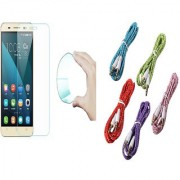 Gionee Marathon M5 Lite Curved Edge 9H HD Flexible Tempered Glass with Nylon 35mm Aux Cable